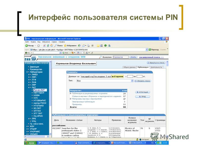 Интерфейс пользователя системы PIN