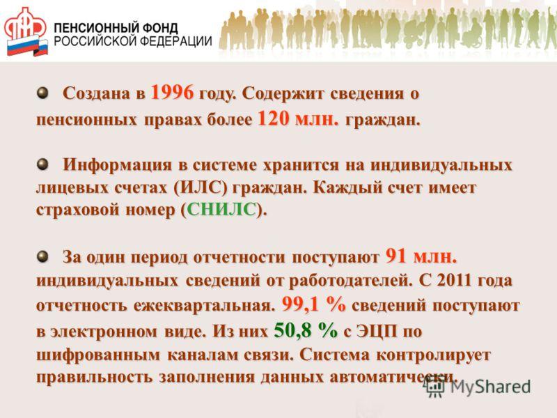 Создана в 1996 году. Содержит сведения о пенсионных правах более 120 млн. граждан. Создана в 1996 году. Содержит сведения о пенсионных правах более 120 млн. граждан. Информация в системе хранится на индивидуальных лицевых счетах (ИЛС) граждан. Каждый