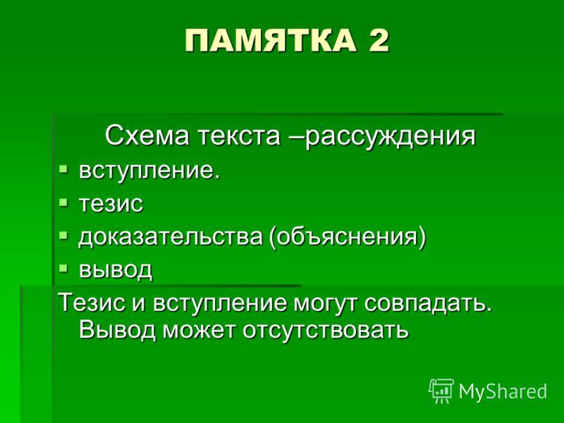 ПАМЯТКА 2 Схема текста