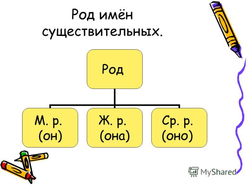 Род имён существительных. Род М. р. (он) Ж. р. (она) Ср. р. (оно)