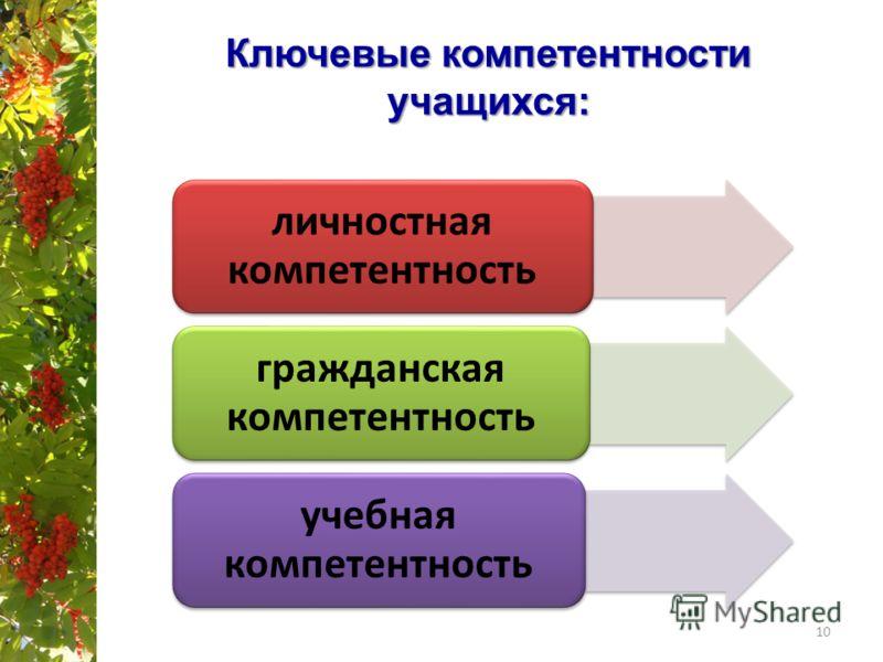 Ключевые компетентности учащихся: 10