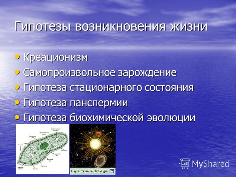 Гипотезы возникновения жизни Креационизм Креационизм Самопроизвольное зарождение Самопроизвольное зарождение Гипотеза стационарного состояния Гипотеза стационарного состояния Гипотеза панспермии Гипотеза панспермии Гипотеза биохимической эволюции Гип