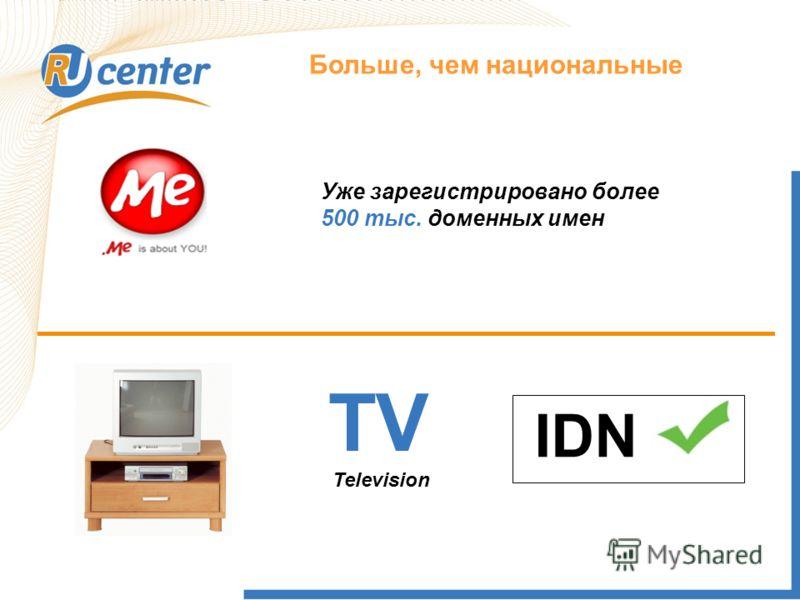 Как работает домен TEL? Больше, чем национальные TV IDN Television Уже зарегистрировано более 500 тыс. доменных имен