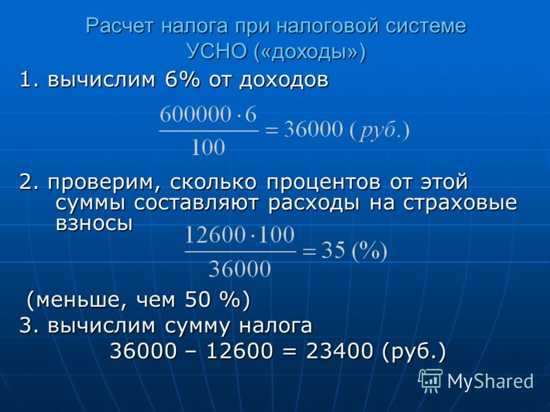 Расчет налога при налоговой системе УСНО («доходы») 1. вычислим 6% от доходов 2. проверим, сколько процентов от этой суммы составляют расходы на страховые взносы (меньше, чем 50 %) (меньше, чем 50 %) 3. вычислим сумму налога 36000 – 12600 = 23400 (ру