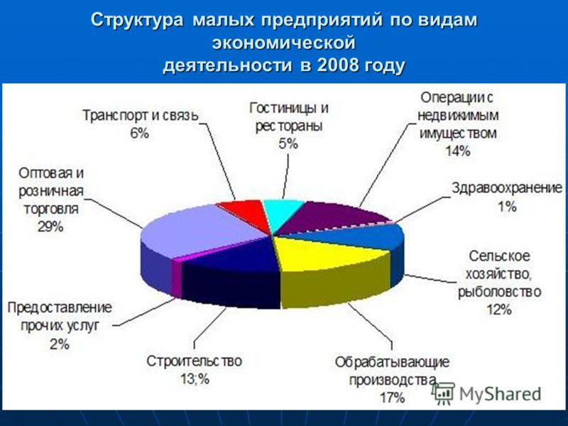 Структура малых предприятий по видам экономической деятельности в 2008 году