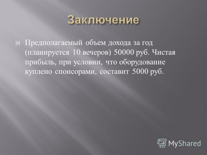 Предполагаемый объем дохода за год ( планируется 10 вечеров ) 50000 руб. Чистая прибыль, при условии, что оборудование куплено спонсорами, составит 5000 руб.