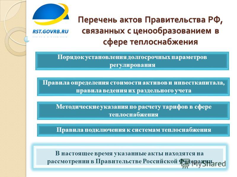 Перечень актов Правительства РФ, связанных с ценообразованием в сфере теплоснабжения Порядок установления долгосрочных параметров регулирования Правила определения стоимости активов и инвесткапитала, правила ведения их раздельного учета В настоящее в