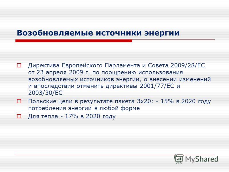 Возобновляемые источники энергии Директива Европейского Парламента и Совета 2009/28/EC от 23 апреля 2009 г. по поощрению использования возобновляемых источников энергии, о внесении изменений и впоследствии отменить директивы 2001/77/EC и 2003/30/EC П