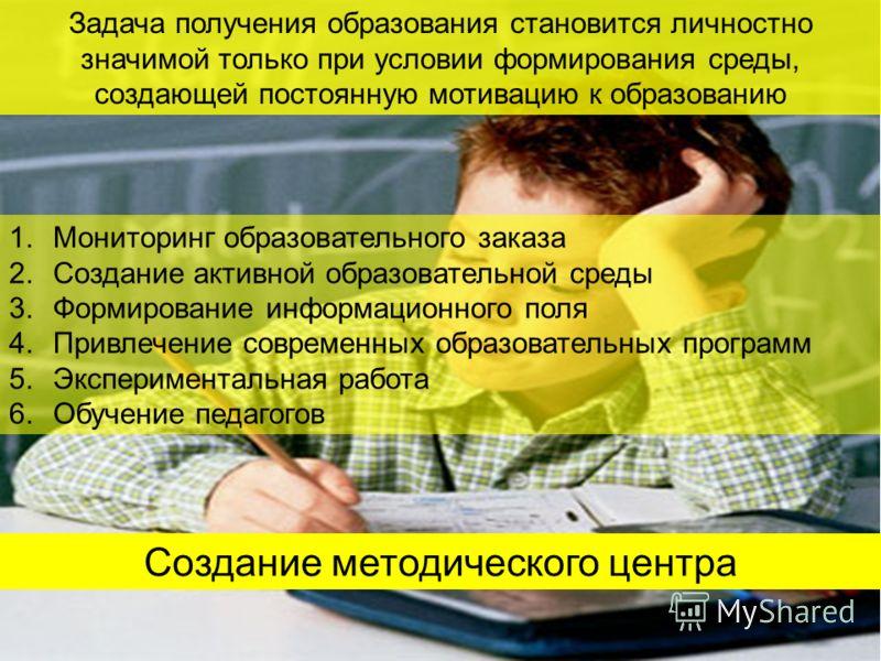 Задача получения образования становится личностно значимой только при условии формирования среды, создающей постоянную мотивацию к образованию 1.Мониторинг образовательного заказа 2.Создание активной образовательной среды 3.Формирование информационно