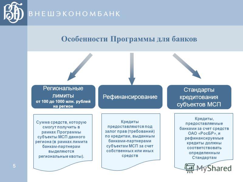 5 Региональные лимиты от 100 до 1000 млн. рублей на регион Рефинансирование Стандарты кредитования субъектов МСП Кредиты предоставляются под залог прав (требований) по кредитам, выданным банками-партнерами субъектам МСП за счет собственных или иных с