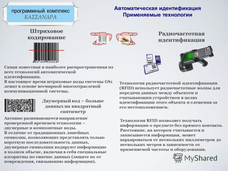 программный комплекс ΚΑΣΣΑΝΔΡΑ Автоматическая идентификация Применяемые технологии Штриховое кодирование Радиочастотная идентификация Самая известная и наиболее распространенная из всех технологий автоматической идентификации. В настоящее время штрих