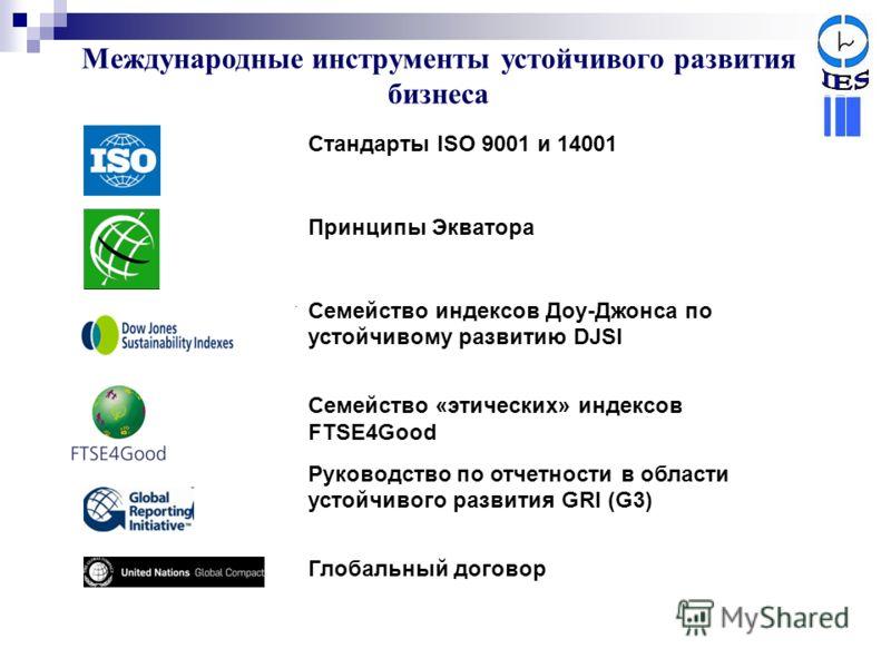 Международные инструменты устойчивого развития бизнеса Стандарты ISO 9001 и 14001 Принципы Экватора Семейство индексов Доу-Джонса по устойчивому развитию DJSI Семейство «этических» индексов FTSE4Good Руководство по отчетности в области устойчивого ра