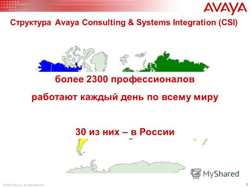 3 © 2005 Avaya Inc. All rights reserved. Структура Avaya Consulting & Systems Integration (CSI) US CALA EMEA APAC >1100 >300 >400 >500 более 2300 профессионалов работают каждый день по всему миру 30 из них – в России