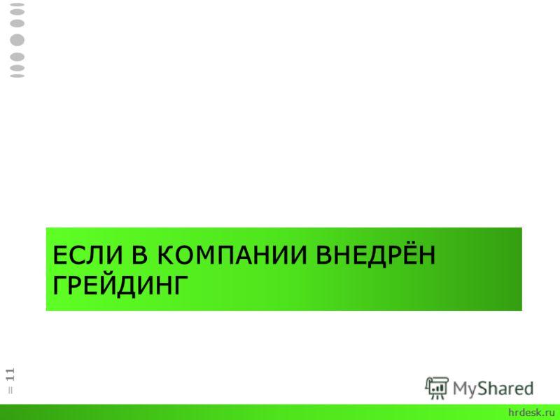 ЕСЛИ В КОМПАНИИ ВНЕДРЁН ГРЕЙДИНГ = 11 hrdesk.ru