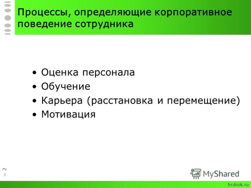= 2 Процессы, определяющие корпоративное поведение сотрудника Оценка персонала Обучение Карьера (расстановка и перемещение) Мотивация hrdesk.ru