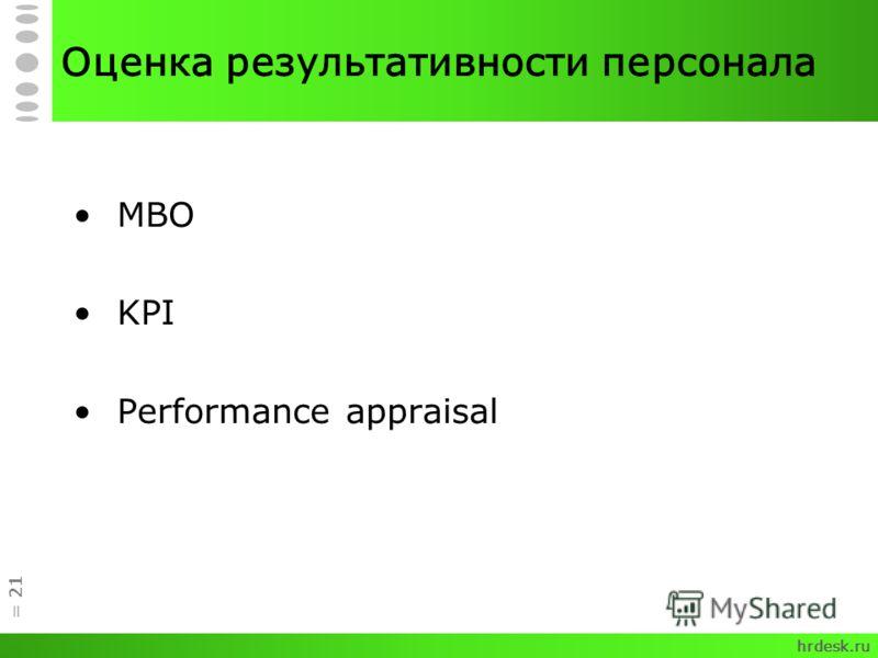 = 21 Оценка результативности персонала MBO KPI Performance appraisal hrdesk.ru