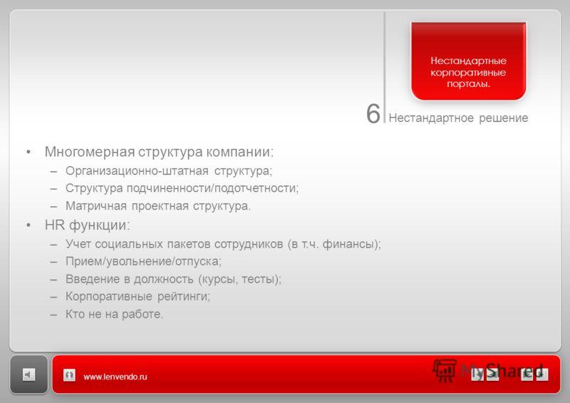6 Нестандартное решение www.lenvendo.ru Многомерная структура компании: –Организационно-штатная структура; –Структура подчиненности/подотчетности; –Матричная проектная структура. HR функции: –Учет социальных пакетов сотрудников (в т.ч. финансы); –При