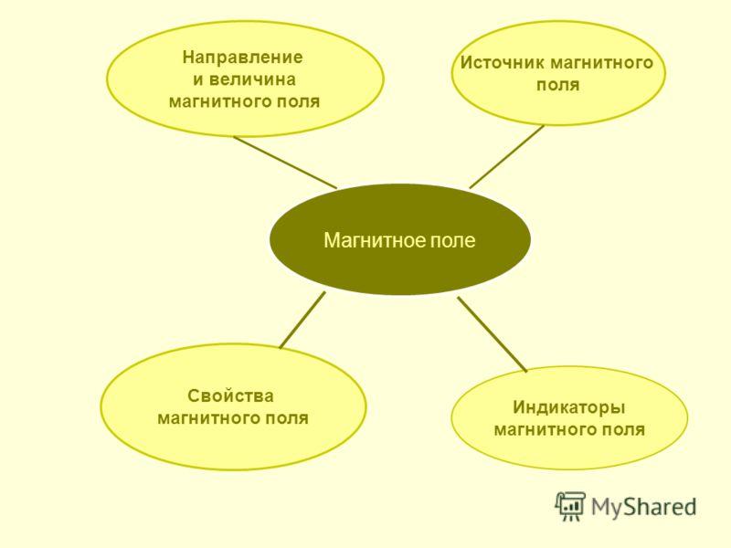 Магнитное поле Источник магнитного поля Индикаторы магнитного поля Свойства магнитного поля Направление и величина магнитного поля