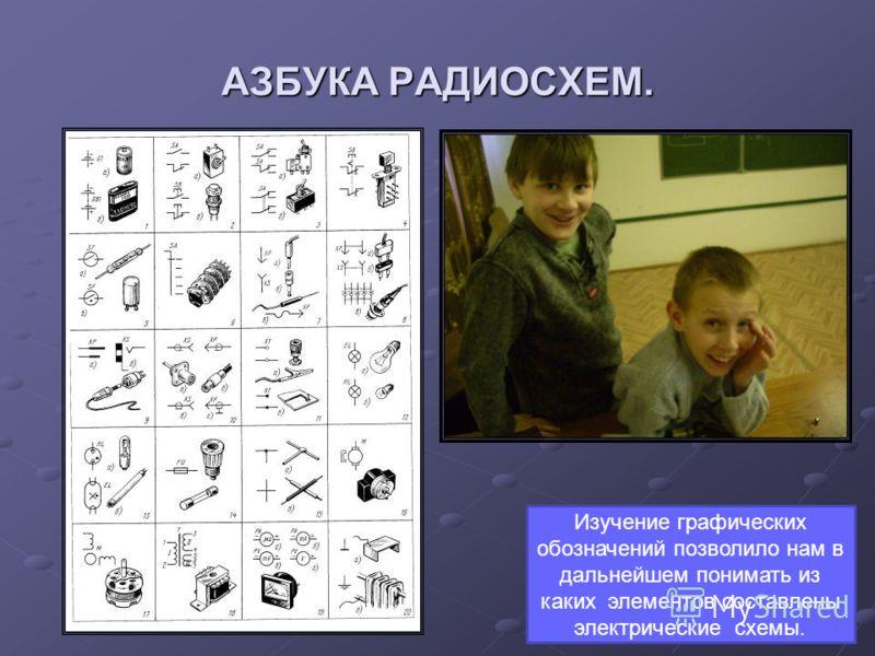 АЗБУКА РАДИОСХЕМ. Изучение графических обозначений позволило нам в дальнейшем понимать из каких элементов составлены электрические схемы.