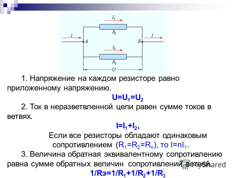 1. Напряжение на каждом резисторе равно приложенному напряжению. U=U 1 =U 2 2. Ток в неразветвленной цепи равен сумме токов в ветвях. I=I 1 +I 2, Если все резисторы обладают одинаковым сопротивлением (R 1 =R 2 =R n ), то I=nI 1. 3. Величина обратная