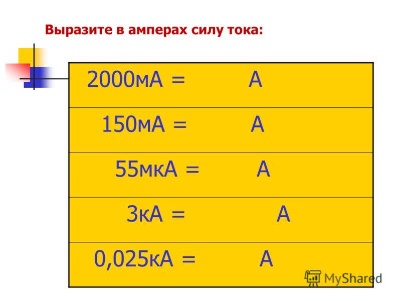 2000мА = А 150мА = А 55мкА = А 3кА = А 0,025кА = А Выразите в амперах силу тока: