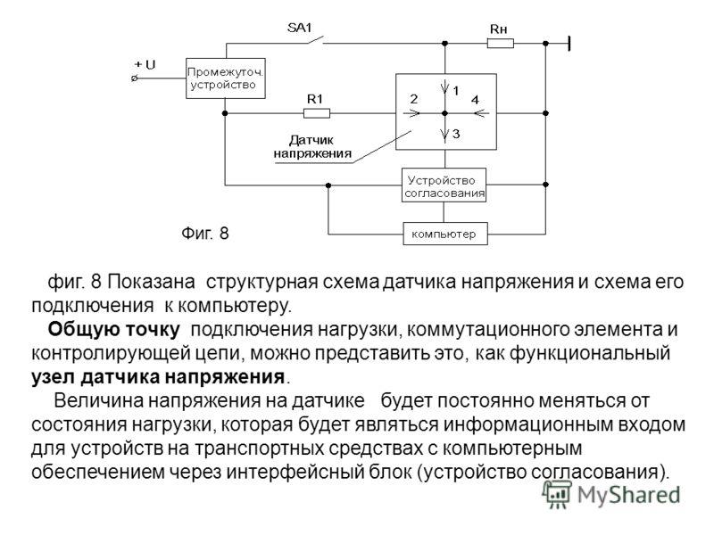 Фиг. 8 фиг. 8 Показана структурная схема датчика напряжения и схема его подключения к компьютеру. Общую точку подключения нагрузки, коммутационного элемента и контролирующей цепи, можно представить это, как функциональный узел датчика напряжения. Вел