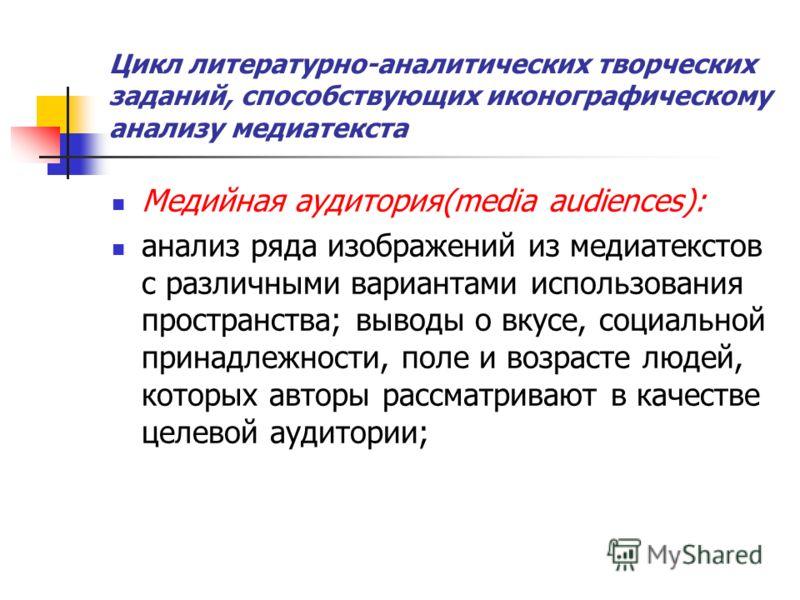 Цикл литературно-аналитических творческих заданий, способствующих иконографическому анализу медиатекста Медийная аудитория(media audiences): анализ ряда изображений из медиатекстов с различными вариантами использования пространства; выводы о вкусе, с