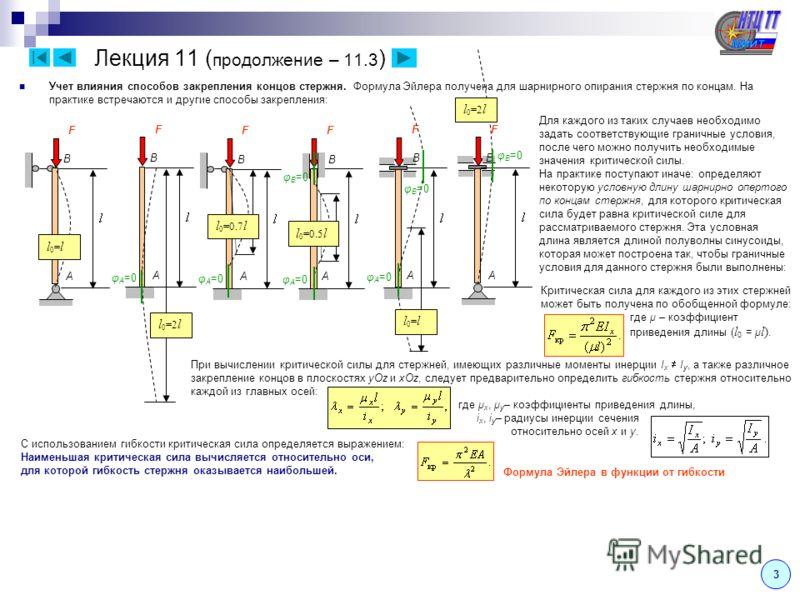 Лекция 11 ( продолжение – 11.3 ) 3 Учет влияния способов закрепления концов стержня. Формула Эйлера получена для шарнирного опирания стержня по концам. На практике встречаются и другие способы закрепления: A B F A B F A B F A B F F A B F A B Для кажд