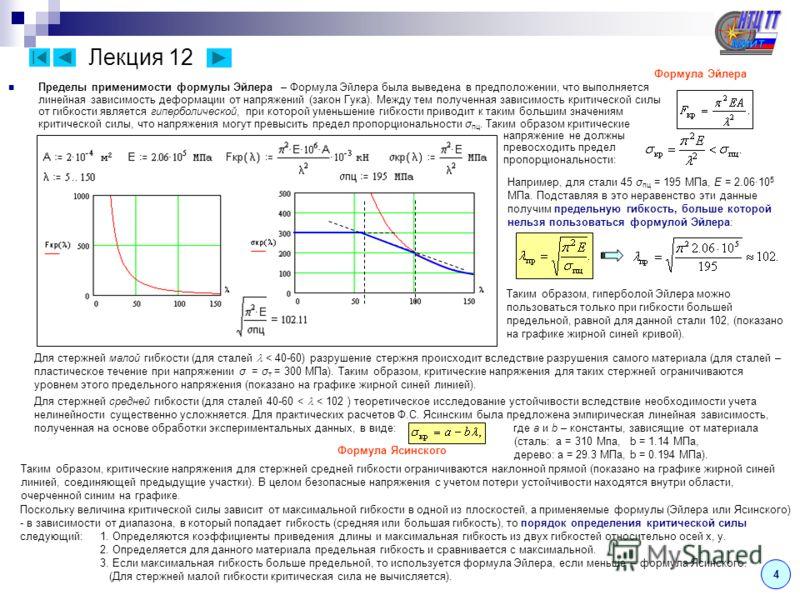 Лекция 12 Пределы применимости формулы Эйлера – Формула Эйлера была выведена в предположении, что выполняется линейная зависимость деформации от напряжений (закон Гука). Между тем полученная зависимость критической силы от гибкости является гиперболи
