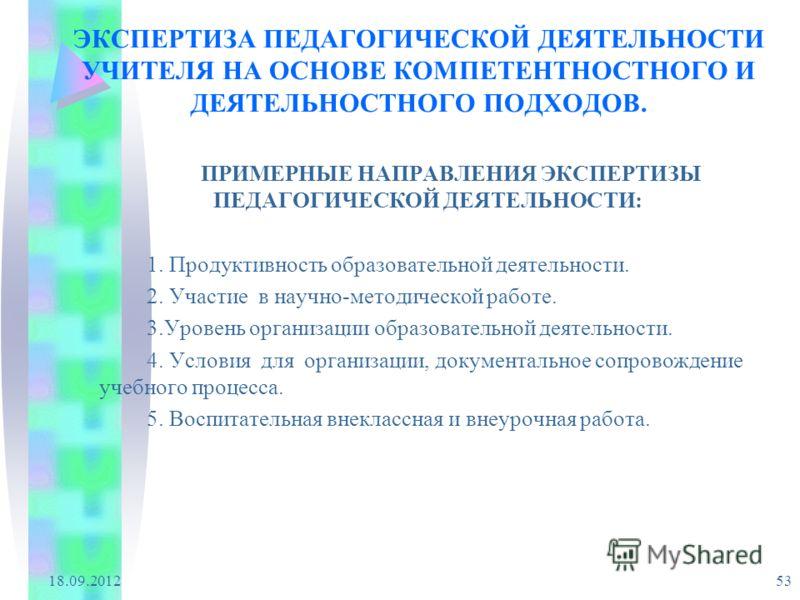 18.09.2012 53 ЭКСПЕРТИЗА ПЕДАГОГИЧЕСКОЙ ДЕЯТЕЛЬНОСТИ УЧИТЕЛЯ НА ОСНОВЕ КОМПЕТЕНТНОСТНОГО И ДЕЯТЕЛЬНОСТНОГО ПОДХОДОВ. ПРИМЕРНЫЕ НАПРАВЛЕНИЯ ЭКСПЕРТИЗЫ ПЕДАГОГИЧЕСКОЙ ДЕЯТЕЛЬНОСТИ: 1. Продуктивность образовательной деятельности. 2. Участие в научно-мет