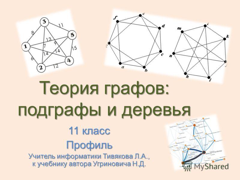 Теория графов: подграфы и деревья 11 класс Профиль Учитель информатики Тивякова Л.А., к учебнику автора Угриновича Н.Д.
