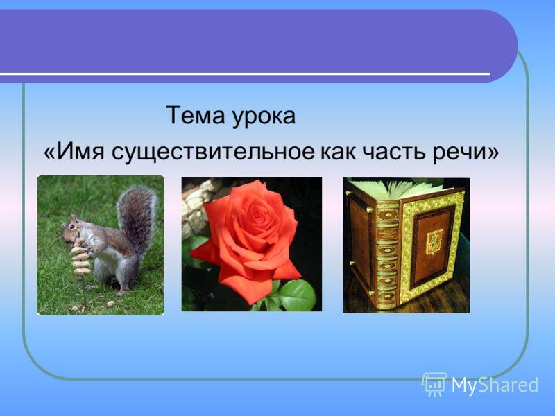 Тема урока «Имя существительное как часть речи»