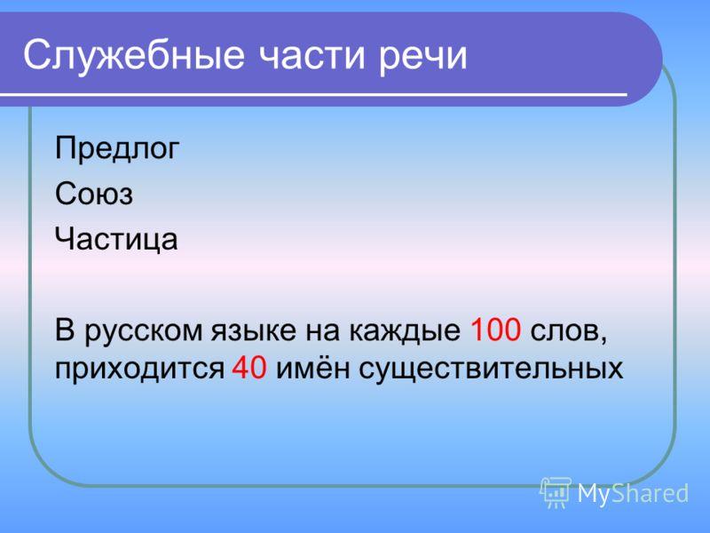 Служебные части речи Предлог Союз Частица В русском языке на каждые 100 слов, приходится 40 имён существительных