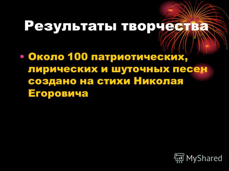 Результаты творчества Около 100 патриотических, лирических и шуточных песен создано на стихи Николая Егоровича