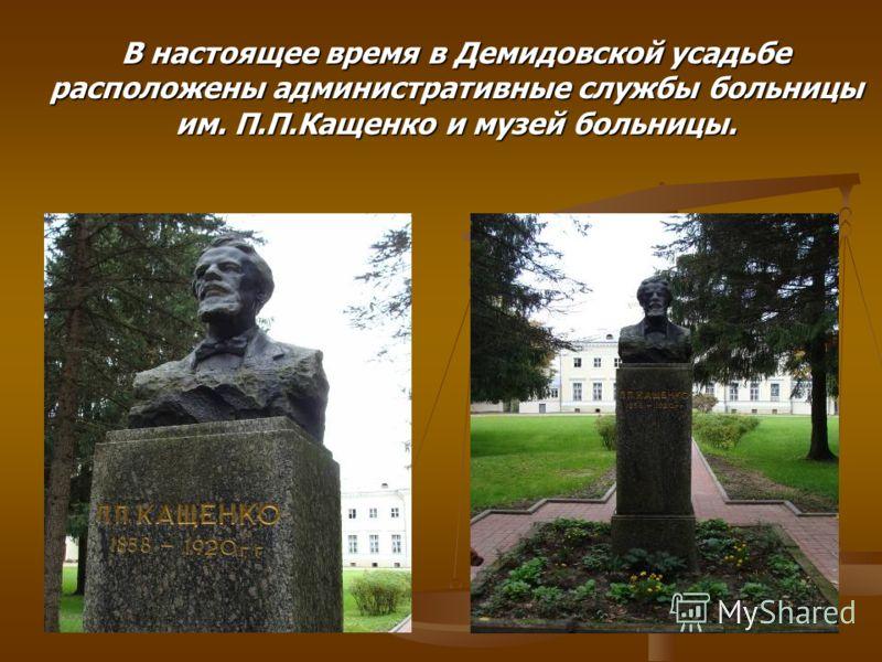 В настоящее время в Демидовской усадьбе расположены административные службы больницы им. П.П.Кащенко и музей больницы.