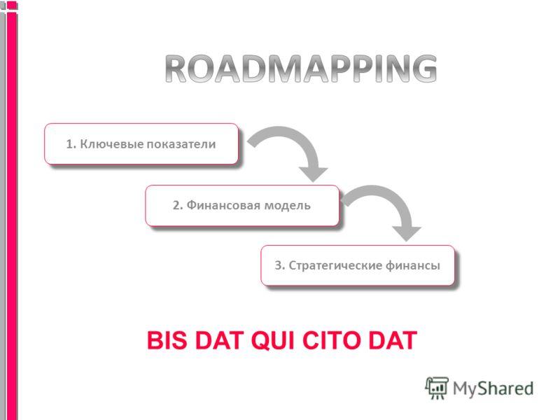 BIS DAT QUI CITO DAT 1. Ключевые показатели 2. Финансовая модель 3. Стратегические финансы