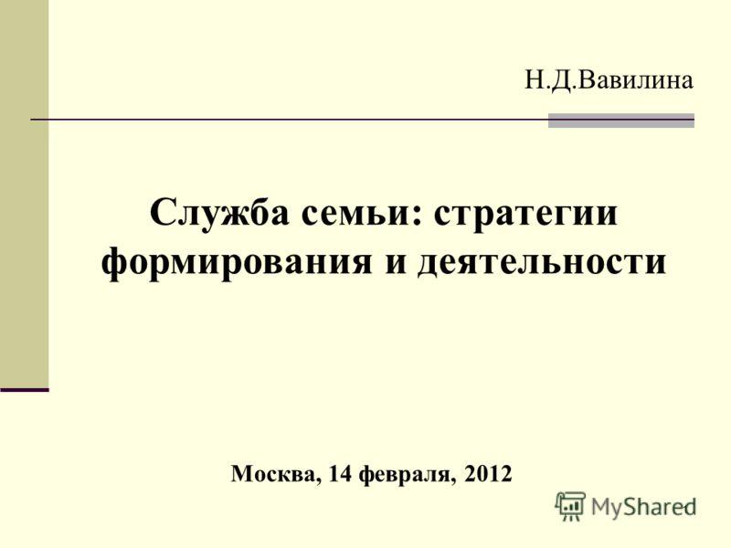 1 Москва, 14 февраля, 2012 Н.Д.Вавилина Служба семьи: стратегии формирования и деятельности