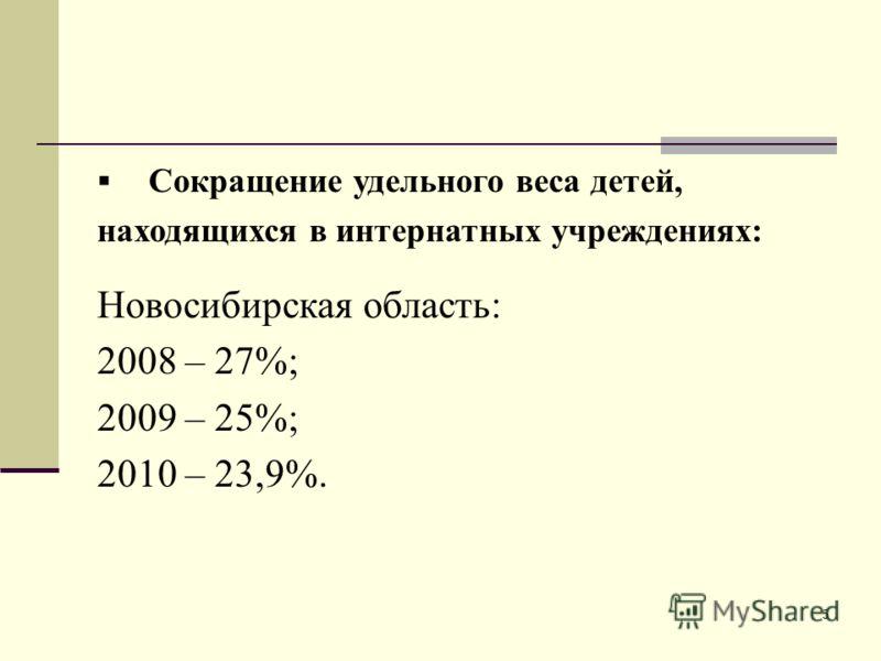 5 Сокращение удельного веса детей, находящихся в интернатных учреждениях: Новосибирская область: 2008 – 27%; 2009 – 25%; 2010 – 23,9%.