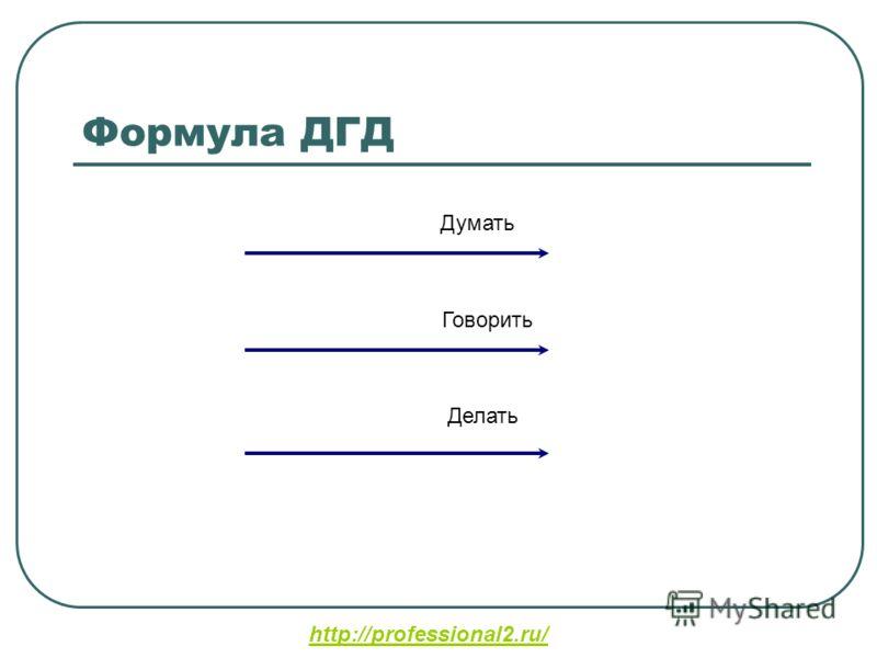Формула ДГД Думать Говорить Делать http://professional2.ru/