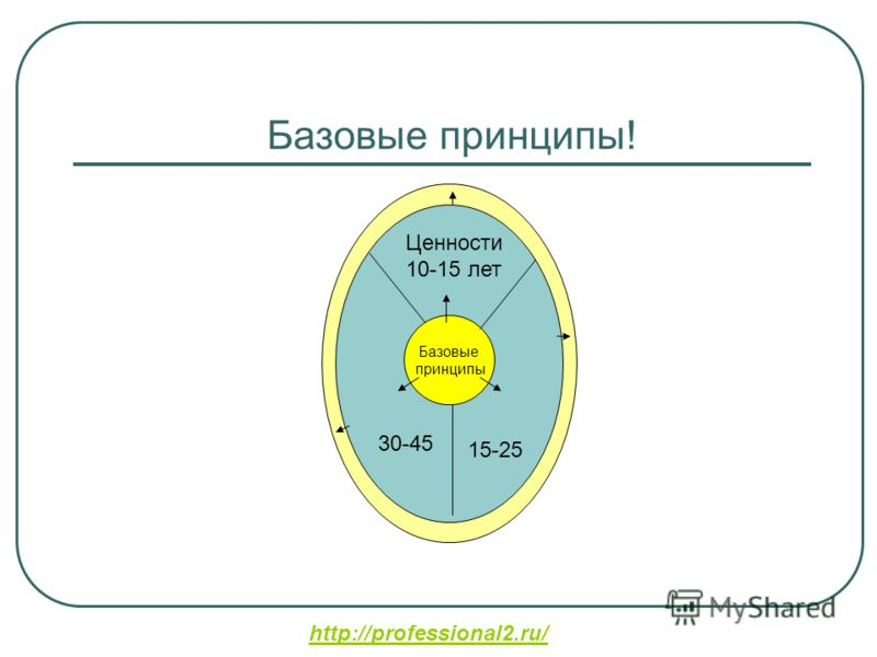 http://professional2.ru/ Базовые принципы! це Базовые принципы 30-45 Ценности 10-15 лет 15-25