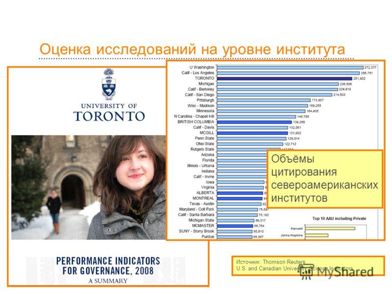 Оценка исследований на уровне института Источник: Thomson Reuters U.S. and Canadian University Science Indicators Объёмы цитирования североамериканских институтов