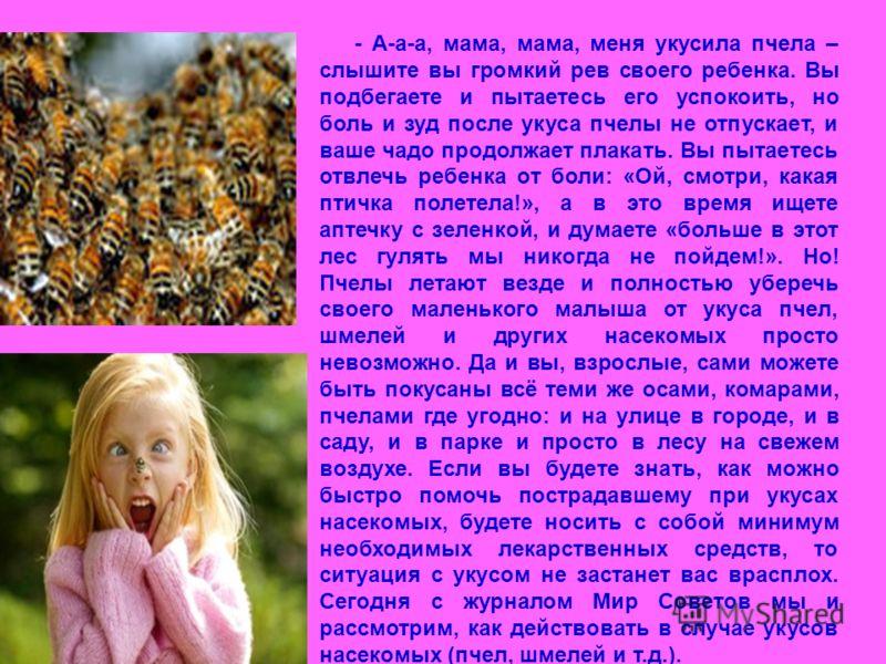 - А-а-а, мама, мама, меня укусила пчела – слышите вы громкий рев своего ребенка. Вы подбегаете и пытаетесь его успокоить, но боль и зуд после укуса пчелы не отпускает, и ваше чадо продолжает плакать. Вы пытаетесь отвлечь ребенка от боли: «Ой, смотри,