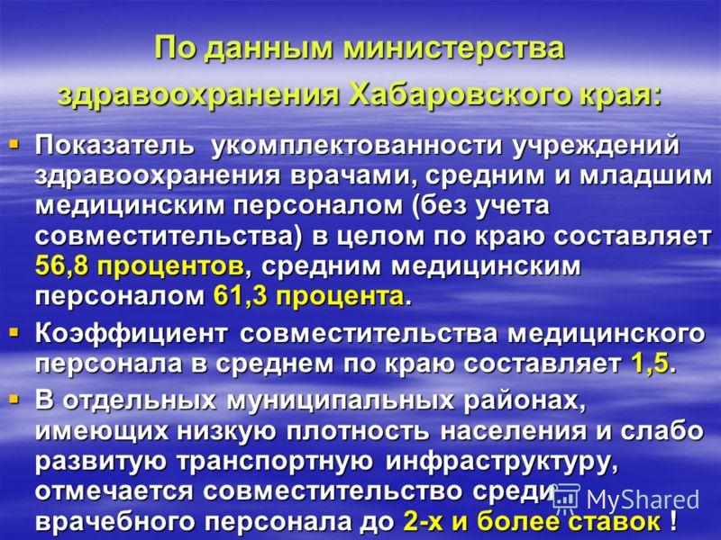 По данным министерства здравоохранения Хабаровского края: Показатель укомплектованности учреждений здравоохранения врачами, средним и младшим медицинским персоналом (без учета совместительства) в целом по краю составляет 56,8 процентов, средним медиц