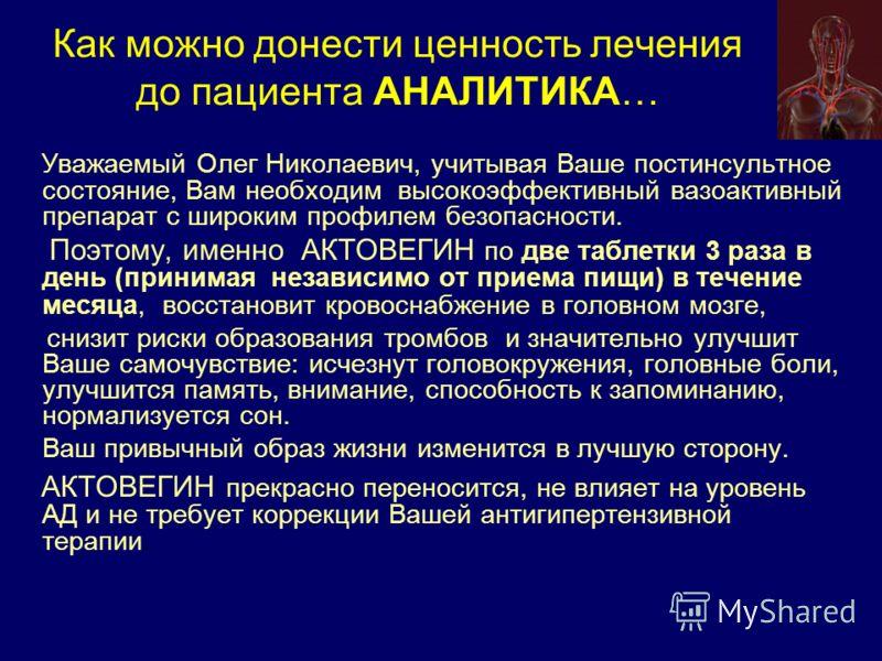 Уважаемый Олег Николаевич, учитывая Ваше постинсультное состояние, Вам необходим высокоэффективный вазоактивный препарат с широким профилем безопасности. Поэтому, именно АКТОВЕГИН по две таблетки 3 раза в день (принимая независимо от приема пищи) в т