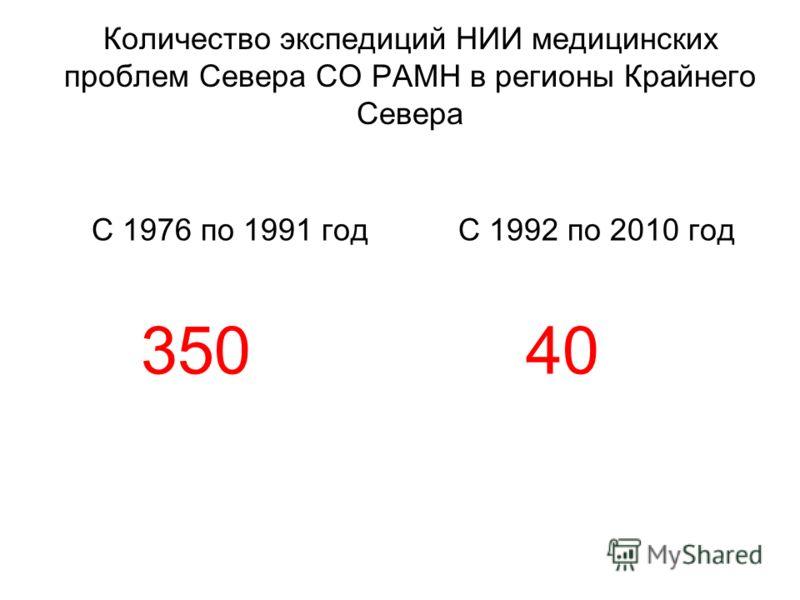 С 1976 по 1991 год 350 С 1992 по 2010 год 40 Количество экспедиций НИИ медицинских проблем Севера СО РАМН в регионы Крайнего Севера