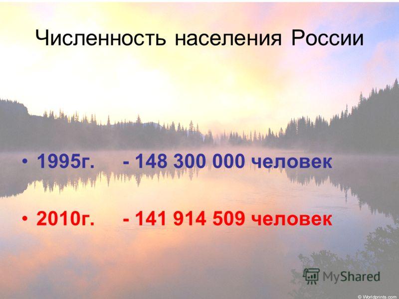 Численность населения России 1995г. - 148 300 000 человек 2010г. - 141 914 509 человек