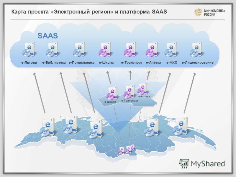 Карта проекта «Электронный регион» и платформа SAAS SAAS е-Льготые-Библиотекае-Поликлиникае-Школае-Транспорте-Аптекае-ЖКХе-Лицензирование е-Школа е-Транспорт е-Аптека