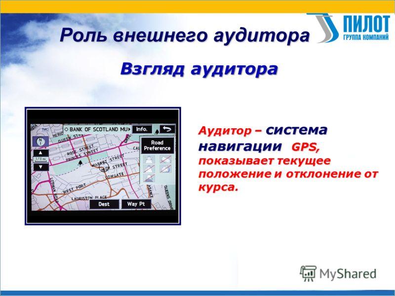 Роль внешнего аудитора Взгляд аудитора Аудитор – система навигации GPS, показывает текущее положение и отклонение от курса.