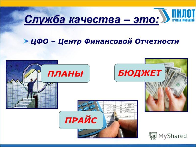Служба качества – это: ЦФО – Центр Финансовой Отчетности БЮДЖЕТ ПЛАНЫ ПРАЙС