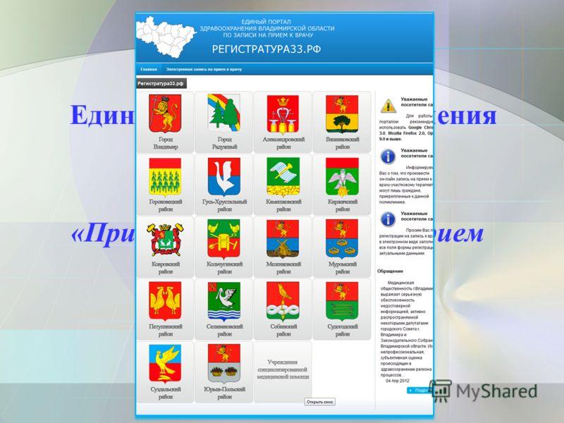 Единый портал здравоохранения Владимирской области «Регистратура33.рф» «Прием заявок (запись) на прием к врачу»